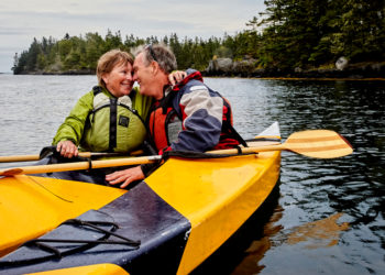 Senior couple kayaking in Canada, Nova Scotia